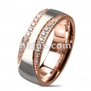 CNC Machine Set CZ PavedCurved Edges Center Glossy Steel and Rose Gold Two Tone Stainless Steel Dome Rings