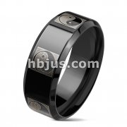 Ying Yang Etched Around Glossy Black IP Over Stainless Steel Band Rings