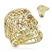 Mesh Skull PVD Gold Stainless Steel Rings