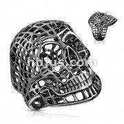 Mesh Skull PVD Black Stainless Steel Rings