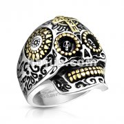 Gold Cross Day of the Dead Skull Stainless Steel Casting Rings