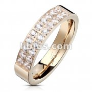 Double Lined 20 CZ CNC Machine Set Rose Gold Plated Stainless Steel Ring