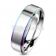 Rainbow IP Stepped Edges with Brushed Finish Center 316L Stainless Steel Classic Band Rings