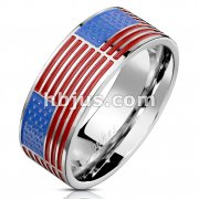 United States Star Spangled Banner American Flag Stainless Steel Ring