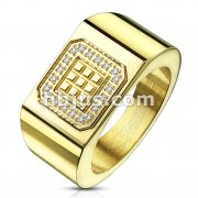 20 CNC Machine Set CZ Outlining Square Blocks Gold IP Wide Stainless Steel Ring