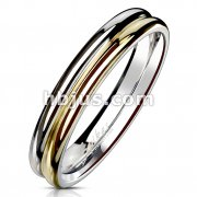 Double Dome Gold IP and Steel Two one Stainless Steel Ring