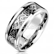 Celtic Dragon Steel Foil Inlaid Stainless Steel Ring
