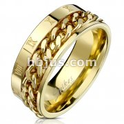 Roman Numeral Spinner Chain Gold IP Stainless Steel Ring