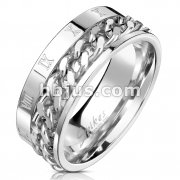 Roman Numeral Spinner Chain Stainless Steel Ring