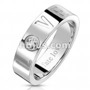 Letters LOVE Debossed Deep Cut with CZ Accent Stainless Steel Ring