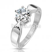 Six Prong 7mm Round Solitaire CZ Stainless Steel Engagement Ring