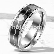 Heart Beat Line on Black Background Stainless Steel Ring