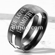 Steel Cross Cut and Fitted with Timothy 4:12 Bible Verse Print Black IP Stainless Steel Rings