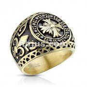 Black CZ Encircled Celtic Cross with Fleur De Lis Sides Gold IP Stainless Steel Casting Rings