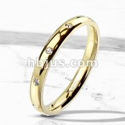 10 CZ Flush Set Gold IP Stainless Steel Classic Dome Ring