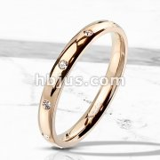 10 CZ Flush Set Rose Gold IP Stainless Steel Classic Dome Ring