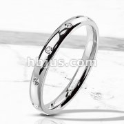 10 CZ Flush Set Stainless Steel Classic Dome Ring