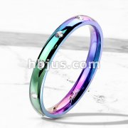 10 CZ Flush Set Rainbow IP Stainless Steel Classic Dome Ring
