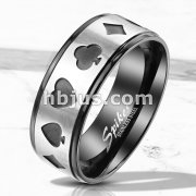 Steel Poker Card Shape Cut Out Center Two Tone Black Stainless Steel Rings