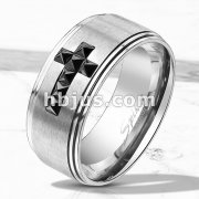 Stepped Edges with Black CZ Cross Brushed Finish Center Stainless Steel Classic Band Rings