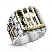 Skull Inside Jail with Cross Sides Stainless Steel Casting Rings