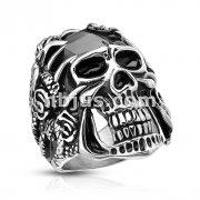 Rose Decorated Steel Claws Grasping Black Skull Stainless Steel Casting Rings
