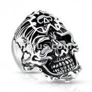 Skull with Skull Bandana Stainless Steel Casting Rings
