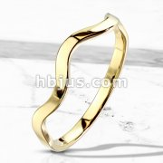 Wavy Line Stackable Gold IP Stainless Steel Ring