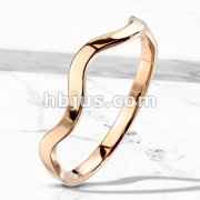 Wavy Line Stackble Rose Gold IP Stainless Steel Ring
