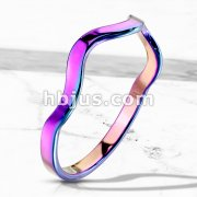 Wavy Line Stackable Rainbow IP Stainless Steel Ring