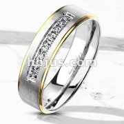 9 Lined CNC Machine Set CZ with Gold PVD Stepped Edges Stainless Steel Ring