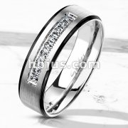 9 Lined CNC Machine Set CZ with Black PVD Stepped Edges Stainless Steel Ring