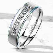 9 Lined CNC Machine Set CZ with Rainbow PVD Stepped Edges Stainless Steel Ring