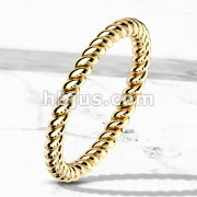 Braided Gold IP Stackable Stainless Steel Ring