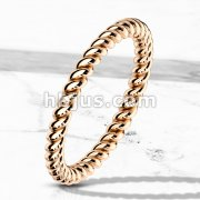 Braided Rose Gold IP Stackable Stainless Steel Ring
