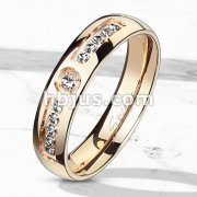 11 CNC Machine Set CZ Rose Gold IP Stainless Steel Ring