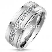 Stepped Edges with Brushed Finish CNC Machine Set CZ Paved Center Stainless Steel Eternity Ring