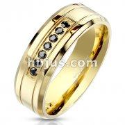 7 Black CZ CNC Machine Set with Double Grooved Lines Gold IP Stainless Steel Ring with Beveled Edges