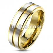 Gold IP Groove and Stepped Edge with Brushed Steel Center Stainless Steel Ring