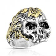 Two Tone Skull with Masonic Emblem Stainless Steel Ring