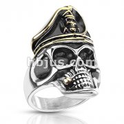 Two Tone Smoking Pirate Skull with Hat Stainless Steel Ring