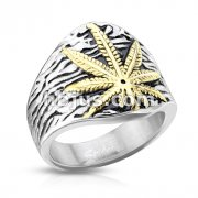 Gold IP Cannabis Leaf Center Textured Stainless Steel Casting Rings