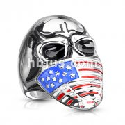 Skull with US Flag Face Mask Stainless Steel Ring