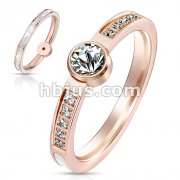 Mother of Pearl Inlaid Center with Round CZ Between CZ Paved Sides Rose Gold Stainless Steel Band Ring