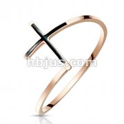 Black Enamel Cross Rose Gold Stainless Steel Ring