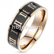 Black Enamel Center with Roman Numerals Rose Gold Stainless Steel Ring