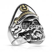 Two Tone Old Captain Skull Stainless Steel Ring