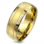 Gold IP Brushed Center and Double Grooved Lines Stainless Steel Ring