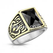 Two Tone Rectangle Black  Faceted Stone Stainless Steel Ring