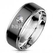 Bezel Set CZ on Black IP Center Stainless Steel Ring with Stepped Edges